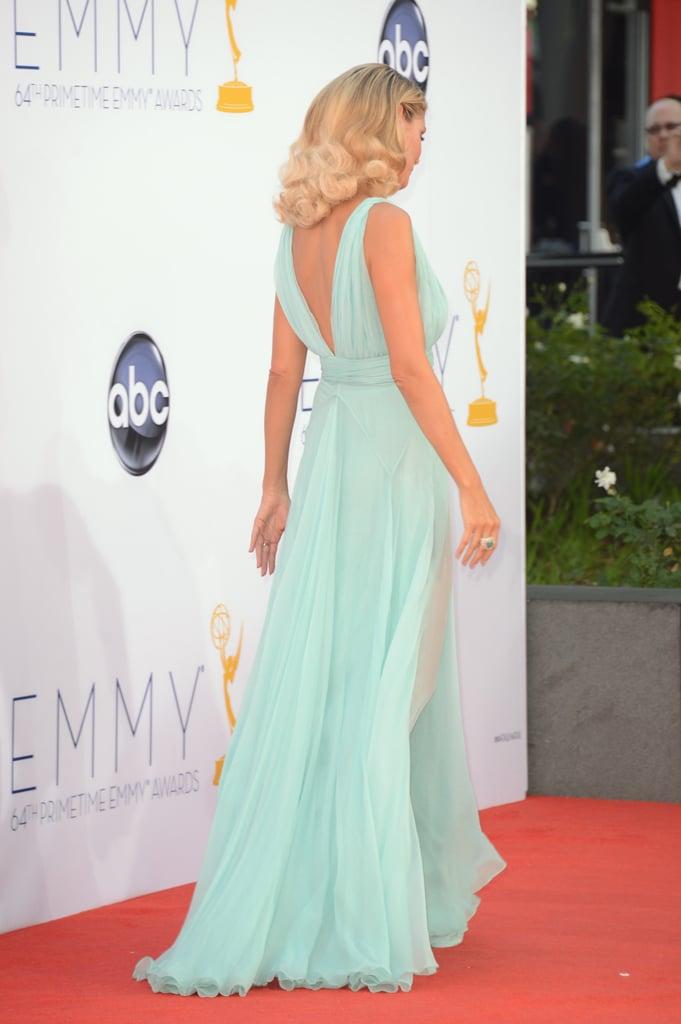 Heidi Klum wore a sheer dress to the Emmy Awards.