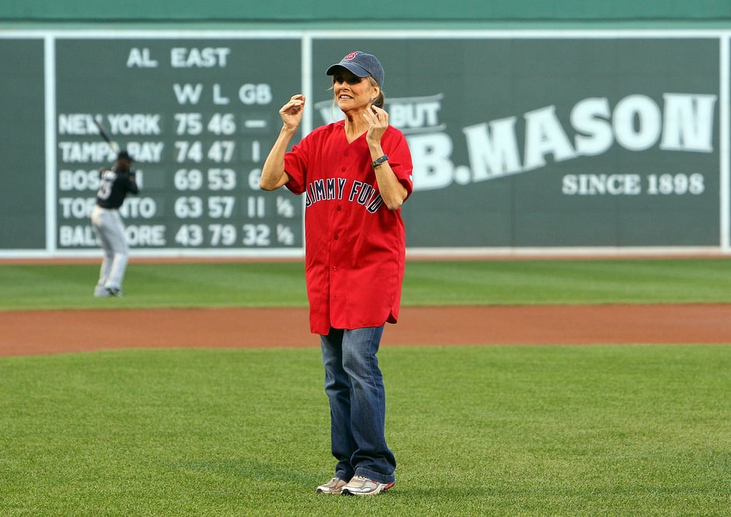 Meredith Vieira threw out the first pitch before the Boston Red Sox game against the Toronto Blue Jays in August 2010.