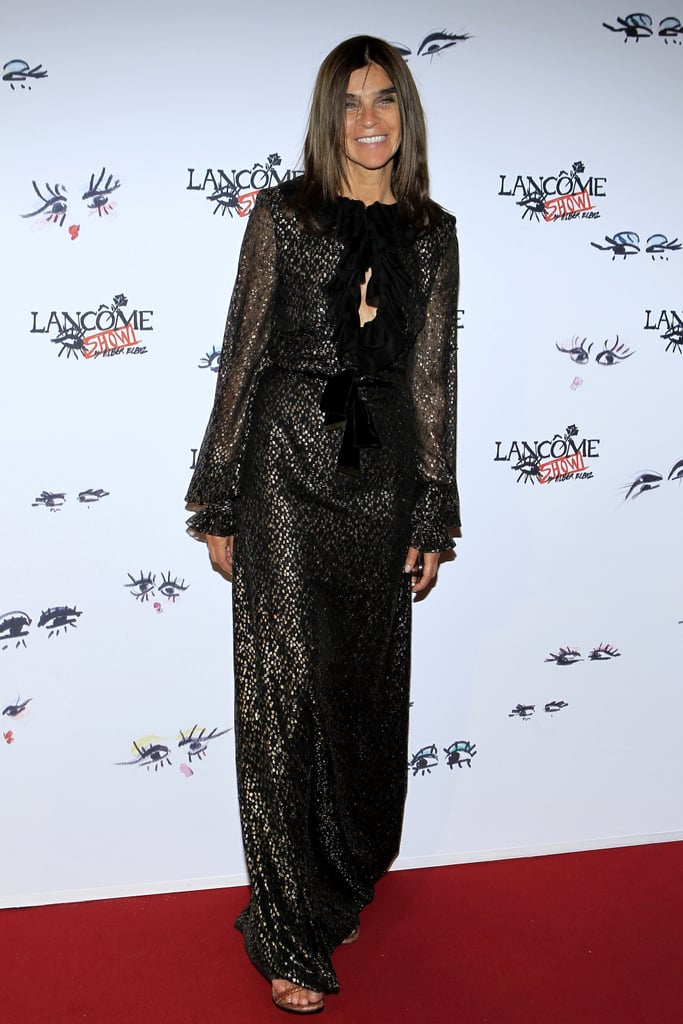 In Paris, Carine Roitfeld arrived for the Lancome Show by Alber Elbaz party in a relaxed black gown. Source:  Stéphane Feugère for Lancome