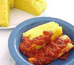 Fast & Easy Dinner: Baked Polenta with Zucchini and Tomato-Pepper Sauce