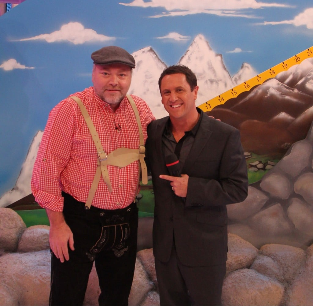 Kyle Sandilands dressed as the yodelling guy to appear with Larry Emdur on The Price Is Right. Source: Twitter User larryemdur