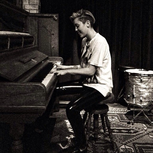 Miley Cyrus made time for piano practice. Source: Instagram user mileycyrus