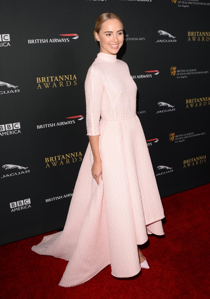 Suki Waterhouse wore a pale pink Emilia Wickstead gown for the event.