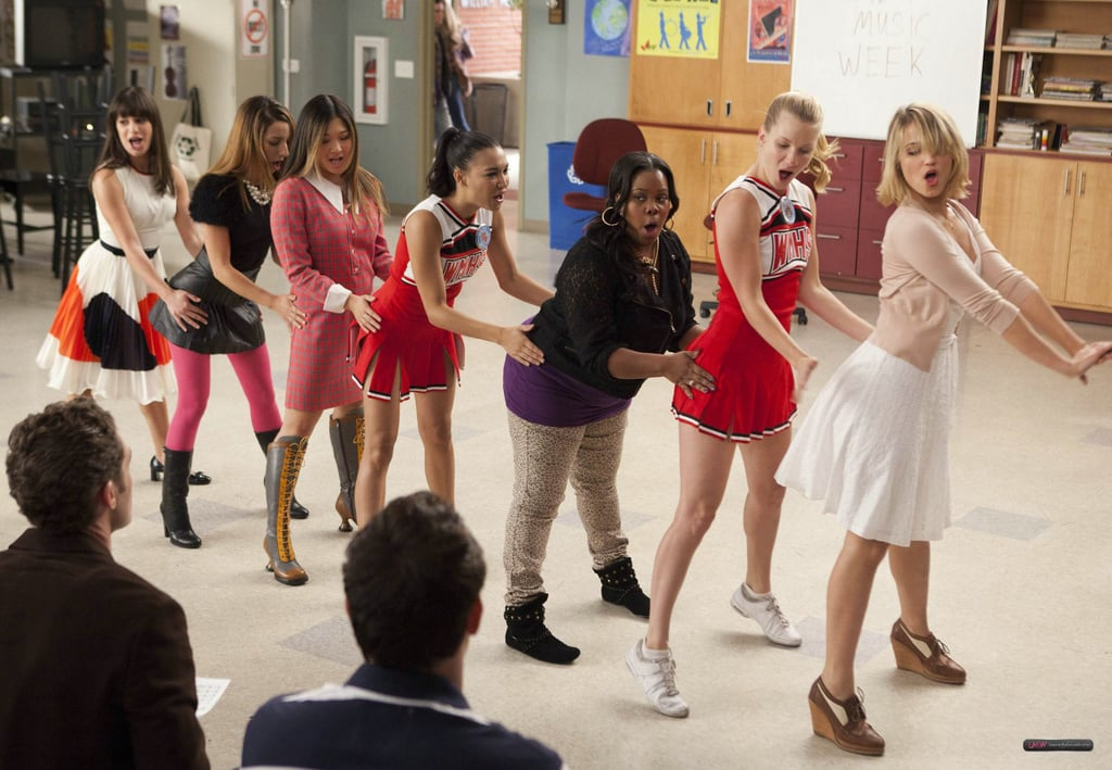"""Seriously, who'd have thought the prissy Rachel Berry from season one would someday be belting out """"I Kissed a Girl"""" with a group of friends?"""