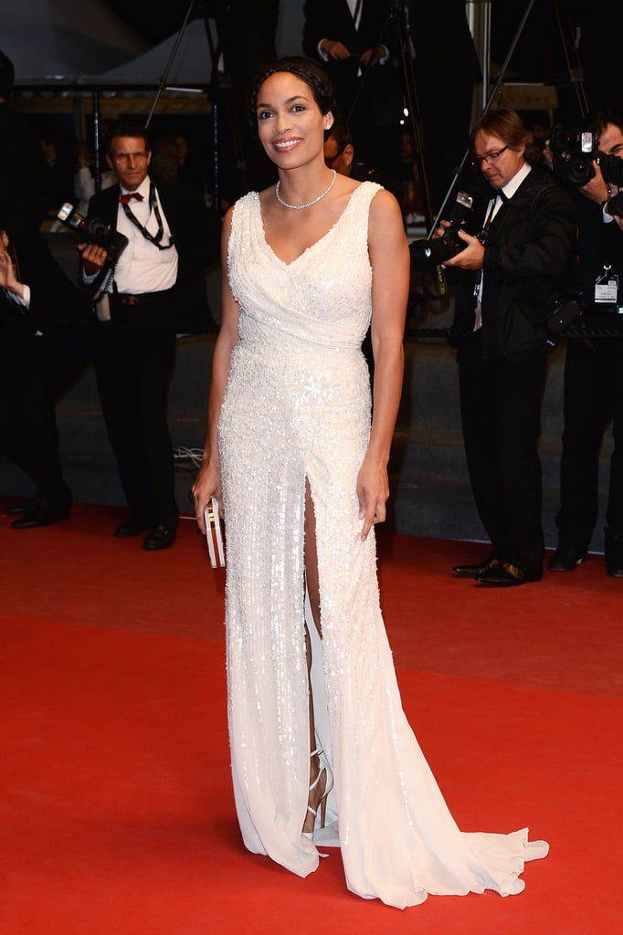 Rosario Dawson chose a white sequined Elie Saab gown for the premiere of As I Lay Dying.
