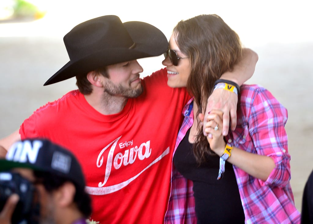 Mila Kunis and Ashton Kutcher got in touch with their country roots when they attended the Stagecoach Music Festival in Indio, CA, last weekend.