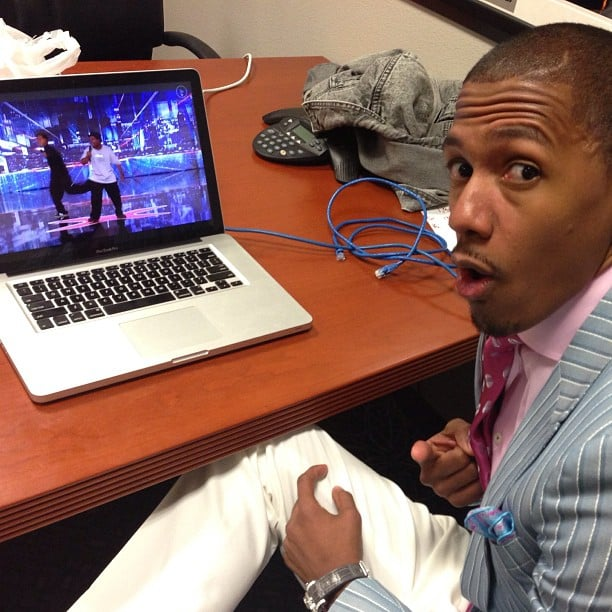 Nick Cannon checked out a performance backstage on the set of America's Got Talent. Source: Instagram user nickcannongram