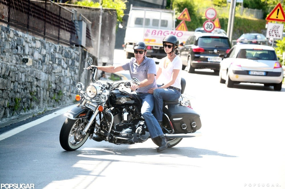 George Clooney took Stacy Keibler for a motorcycle ride in Italy.