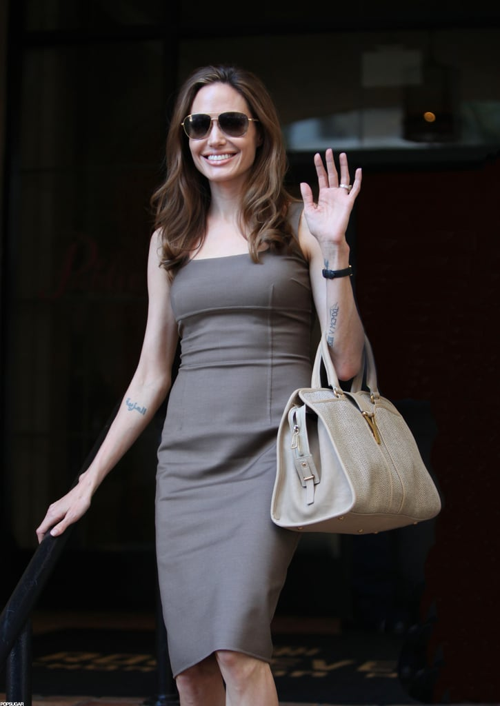 Angelina Jolie stepped out in Hollywood for the first time since becoming engaged to Brad Pitt in April.