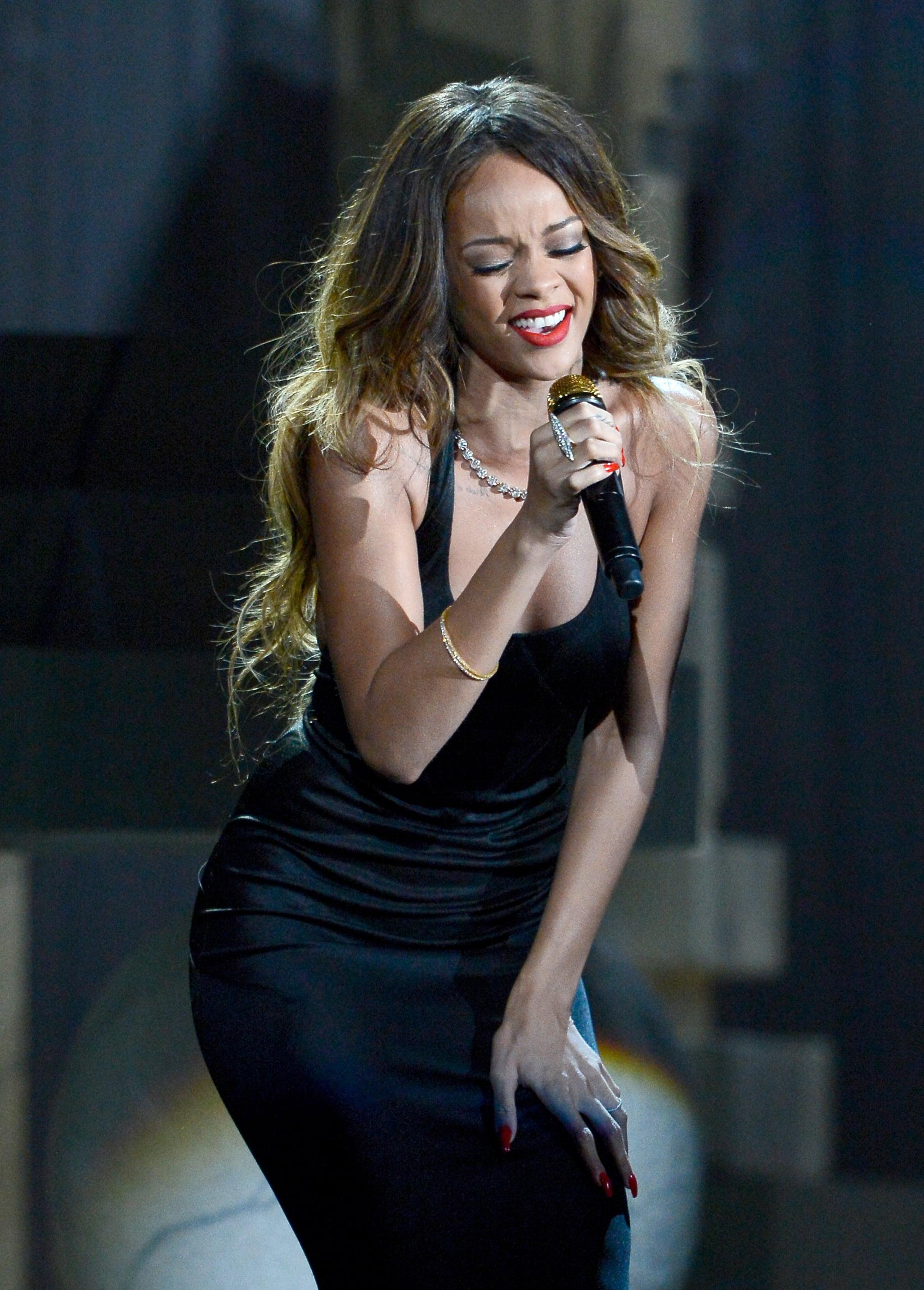 Rihanna performed at the Grammys.