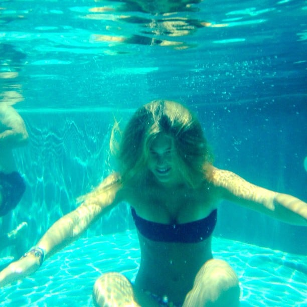 Bar Refaeli collected her thoughts meditated underwater during a July swim.