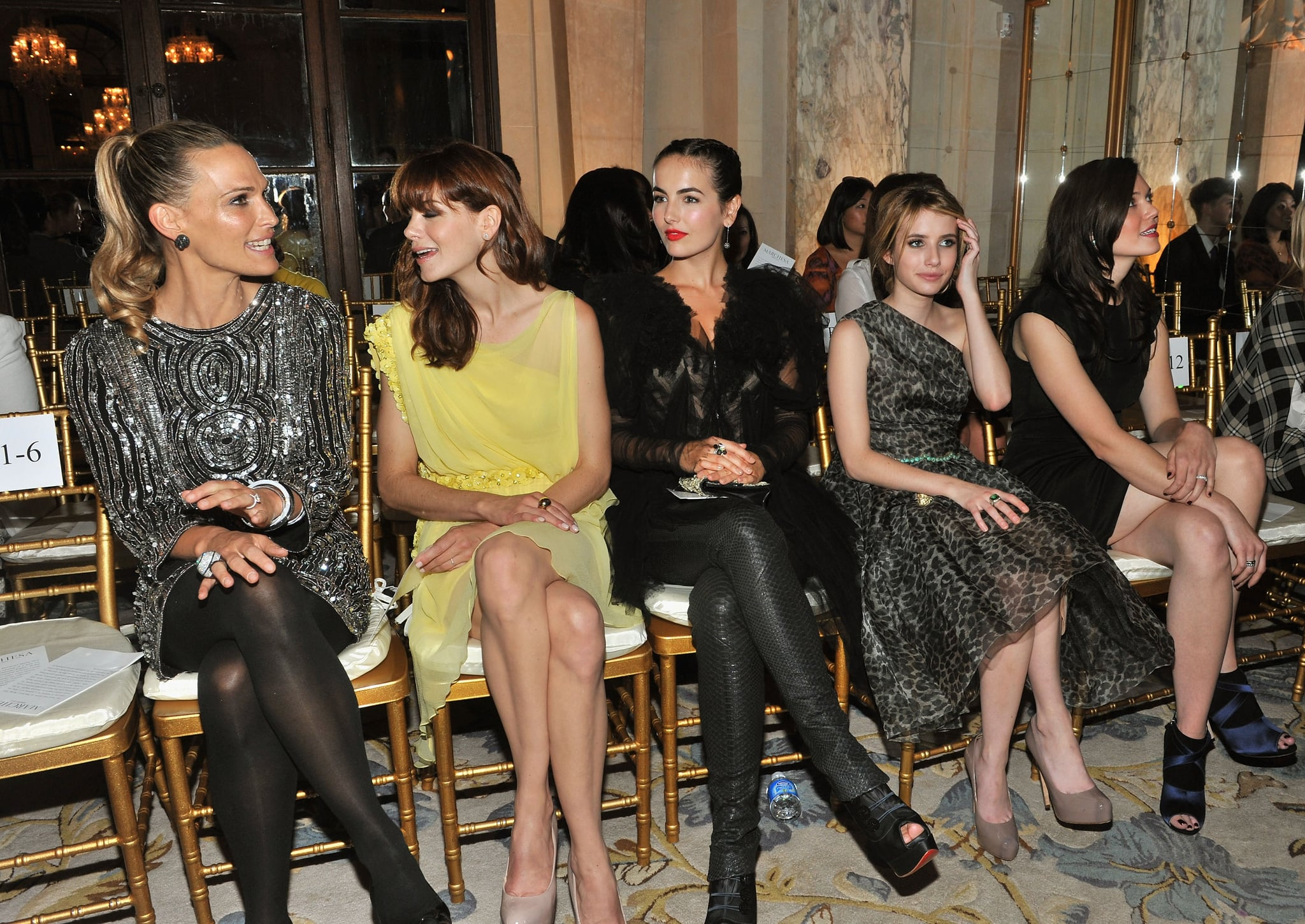 Molly Sims, Michelle Monaghan, Camilla Belle, Emma Roberts, and Mandy Moore dressed up for the Marchesa September 2011 show in NYC.