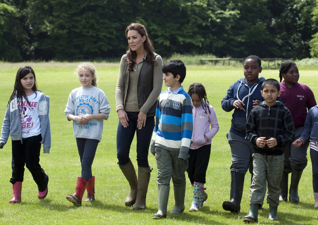 Kate Middleton spent time with children from Expanding Horizons primary school outdoor camp.