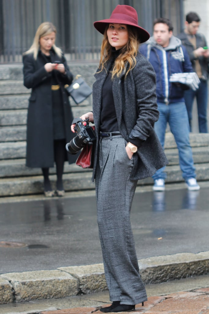 This styler nailed the Annie Hall effect with a wide-brim burgundy hat and easy trousers.
