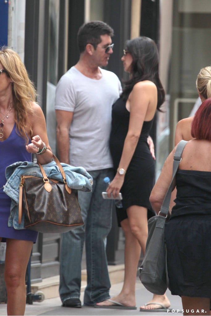 Simon Cowell and Lauren Silverman showed PDA in the street in St.-Tropez.
