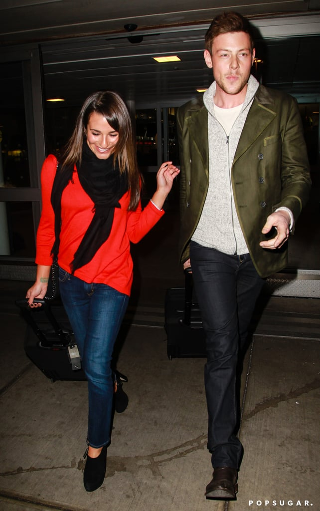 Lea Michele smiled big next to boyfriend Cory Monteith.