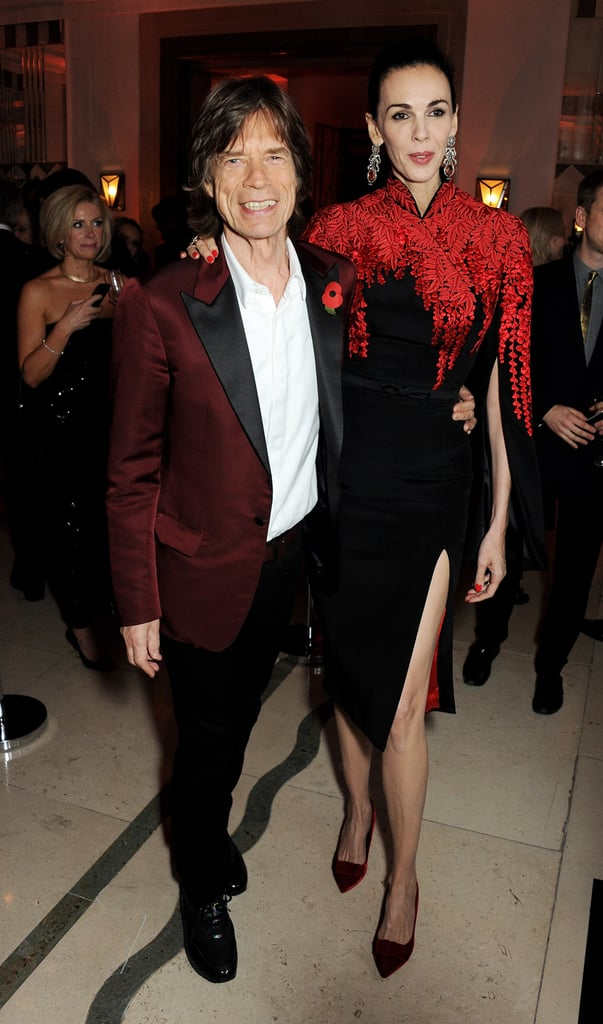 Mick Jagger and L'Wren Scott flattered each other's color palettes at the Harper's Bazaar UK event.