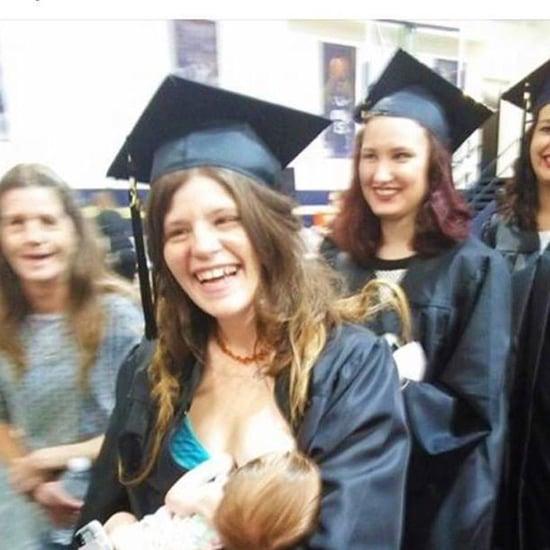 Mom Breastfeeding During Graduation