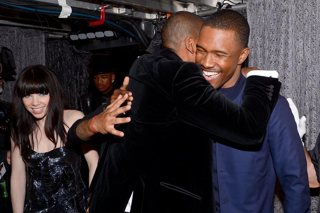Jay-Z hugged recording artist Frank Ocean backstage at the Grammys in LA on Sunday night.