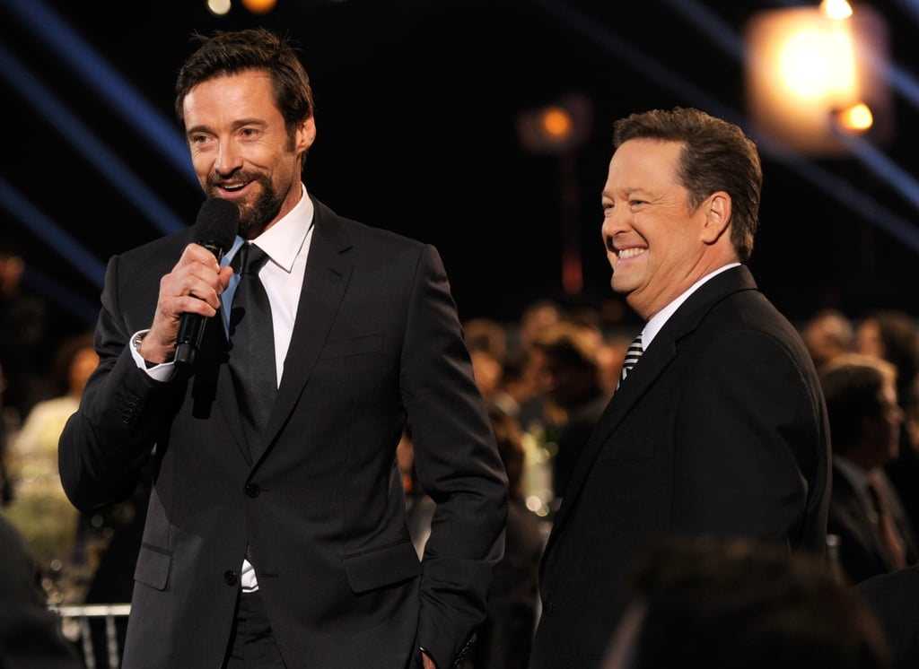 Hugh Jackman took the microphone from Critics' Choice Awards host Sam Rubin.