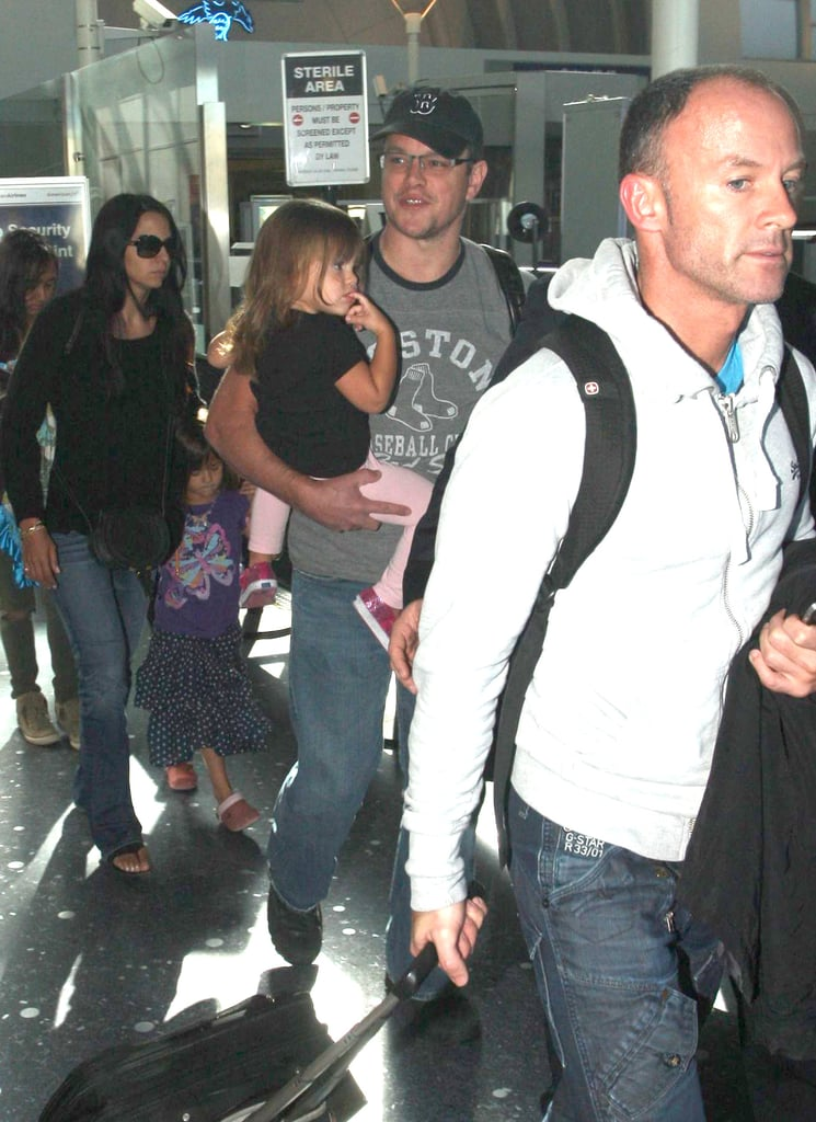 Matt Damon held on to Stella while the rest of his girls followed.