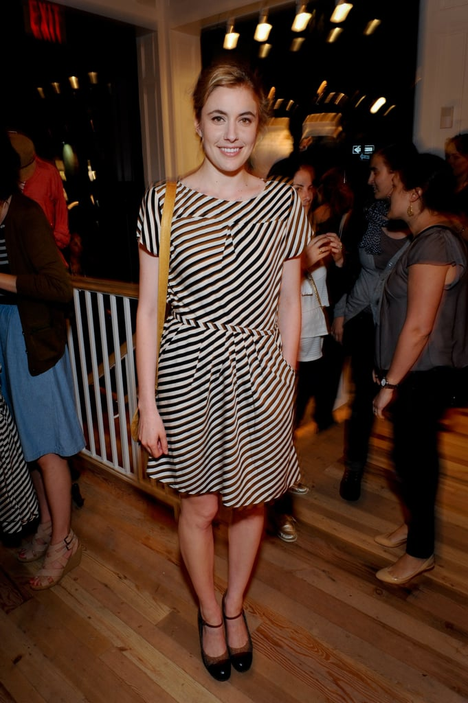 Greta Gerwig shows off her stripes.