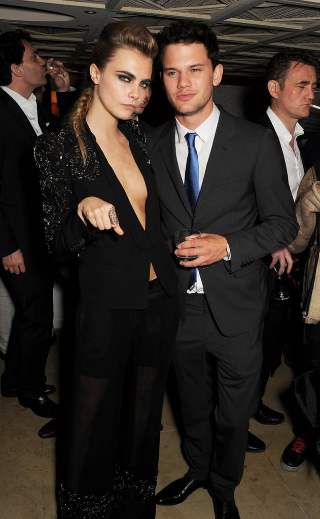 Cara Delevingne chatted with Jeremy Irvine on Thursday at a Calvin Klein party.