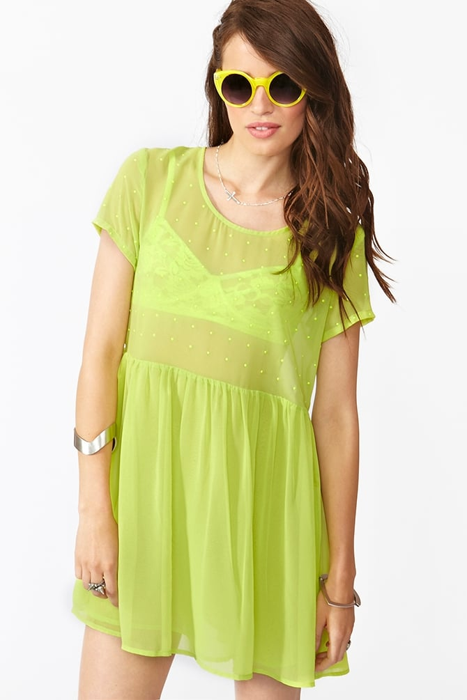 This neon dress was made for the weekend.  Nasty Gal Neon Dot Dress ($48)