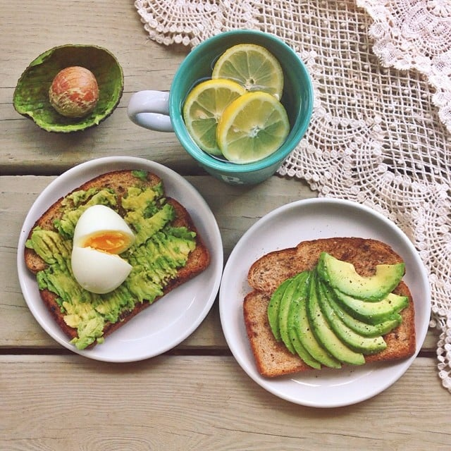 Avocado toast is not just a breakfast item! Adding an egg to the simple recipe is an easy way to up the protein content in your midday meal. Source: Instagram user rosieee93