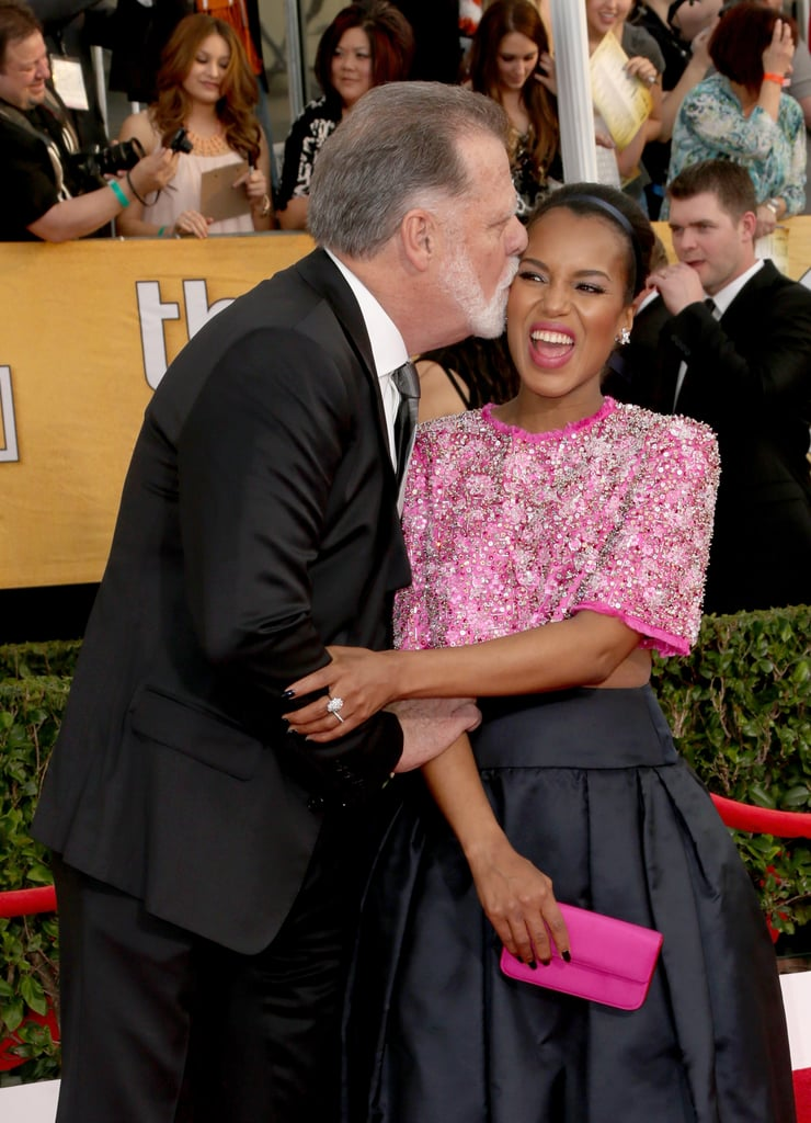 At the Screen Actors Guild Awards, Kerry Washington couldn't resist a kiss from Taylor Hackford.