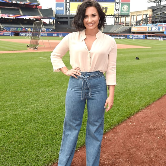 Demi Lovato Wearing Flared Jeans at Citi Field July 2016