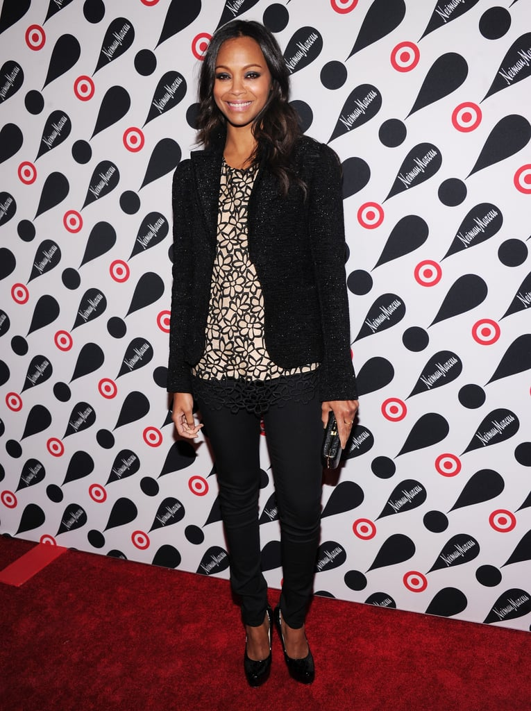 Zoe Saldana supported the collaboration in a Lela Rose for Target top, which she completed with a L'Agence blazer and slim black trousers.
