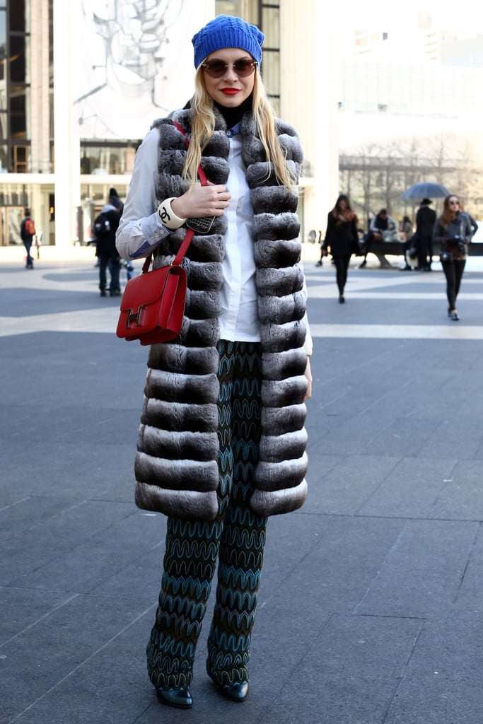 A luxurious vest put her prints in a Winter state of mind.