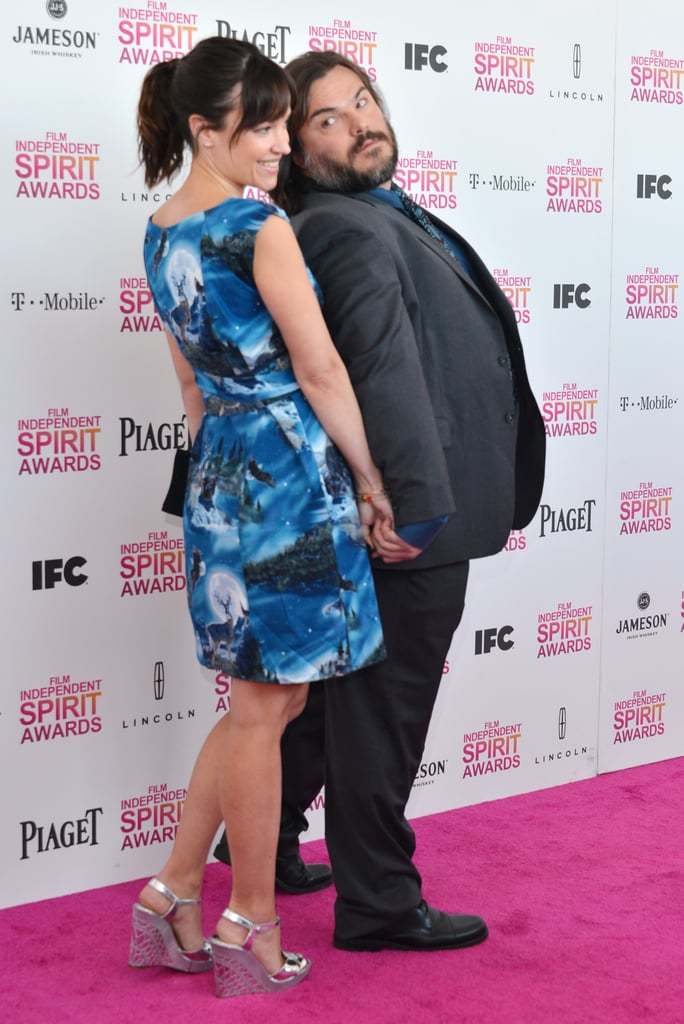 Jack Black and Tanya Haden on the red carpet at the Spirit Awards 2013.