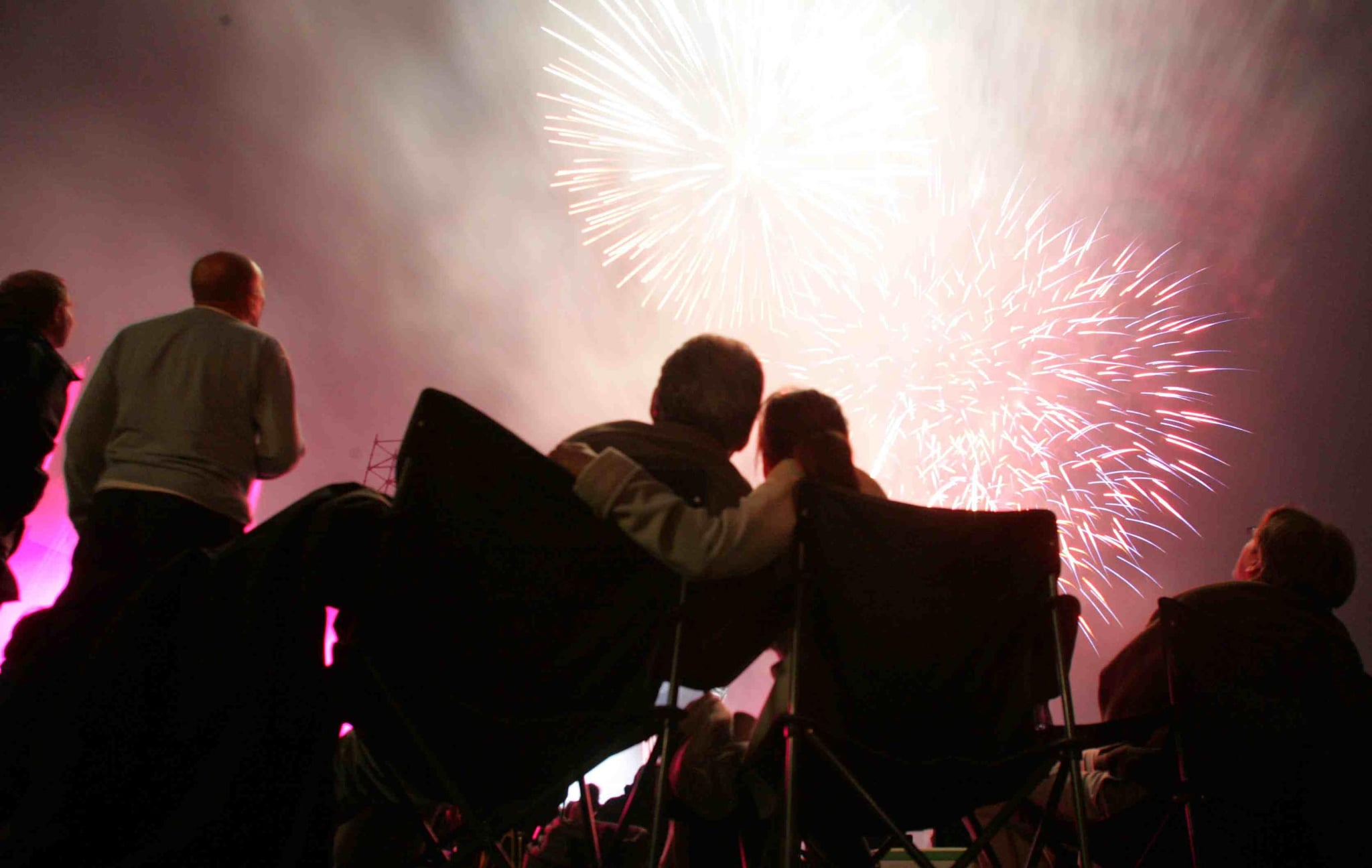This pair enjoyed the fireworks at Glastonbury Abbey Musical Extravaganza in England.