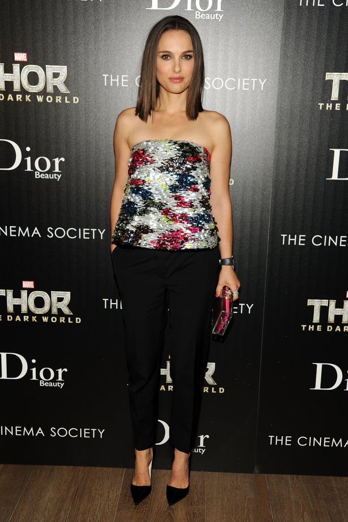 Natalie Portman in a Christian Dior Bustier at the 2013 Thor: The Dark World New York Screening