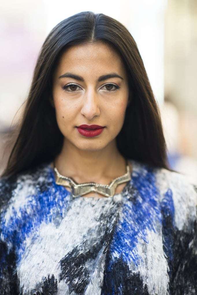 This woman's shimmering white shadow added a beautiful vintage twist to her red lips and liner. Source: Le 21ème | Adam Katz Sinding