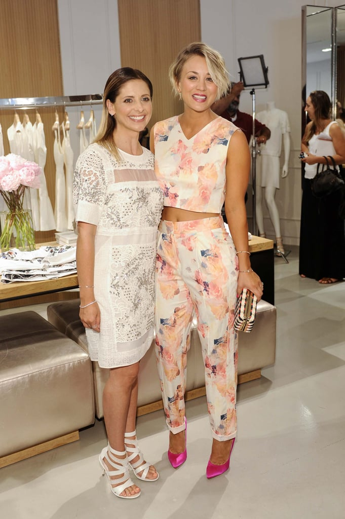 Sarah Michelle Gellar and Kaley Cuoco looked lovely at the Little White Dress Capsule Collection launch in LA on Thursday.