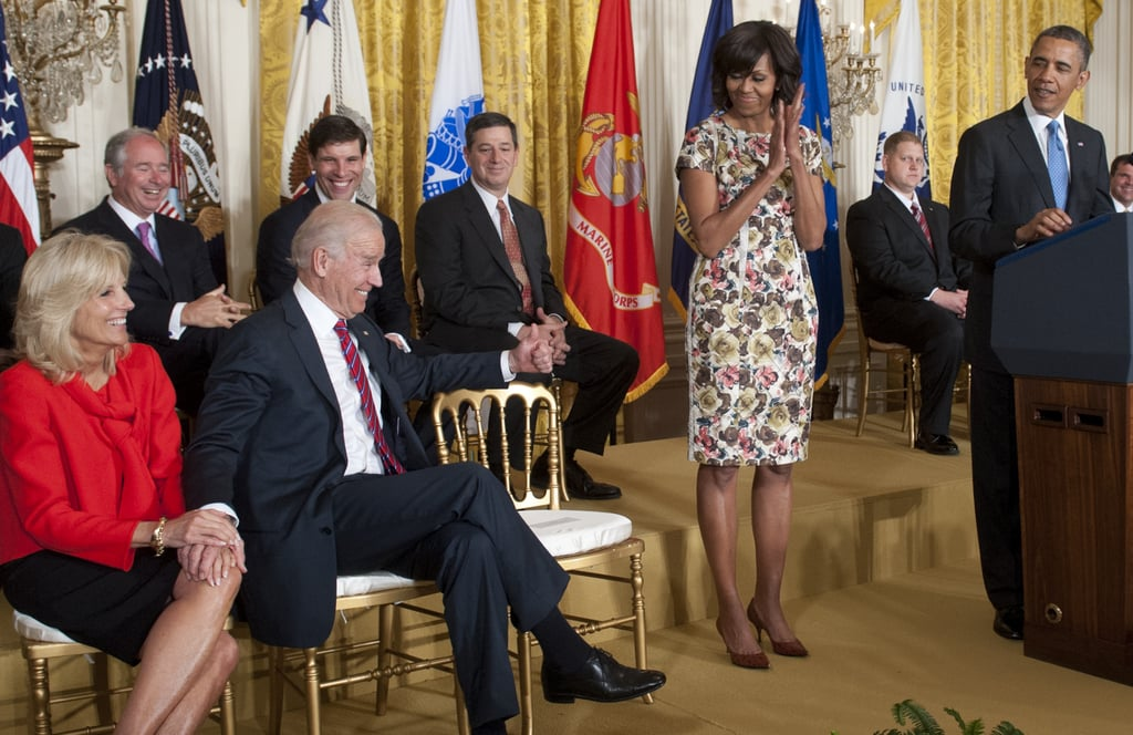 You may recognize this Thakoon floral-print dress from a 2008 presidential debate — the FLOTUS recycled the pretty number for an event held in the East Room of the White House in April. To polish off the look, she styled her dress with red pumps.
