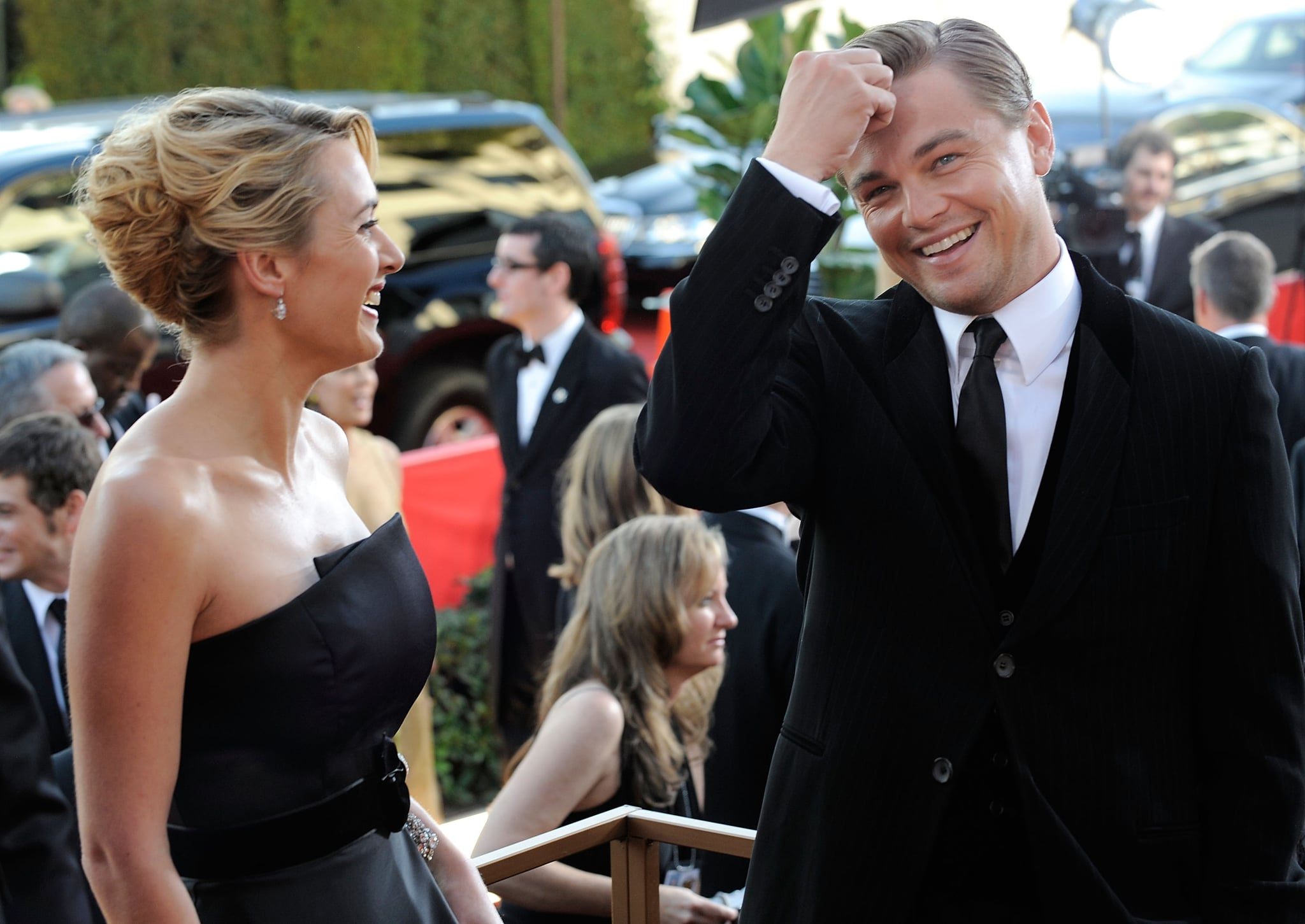 """The adorableness didn't stop there, since Leo gushed to Ryan Seacrest on the 2009 Golden Globes red carpet: """"We've been great friends for a long period of time. We were actively looking for something to do together. It felt really natural. She's my homie.""""  Things got even sweeter inside the show, when Kate won for her role in Revolutionary Road and included a heartfelt message to Leo in her acceptance speech."""