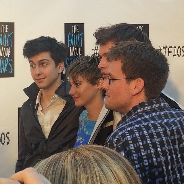 Shailene, @anselelgort, John Green, and Nat at @thefaultmovie fan event in Miami. #tfios Source: Instagram user POPSUGAR