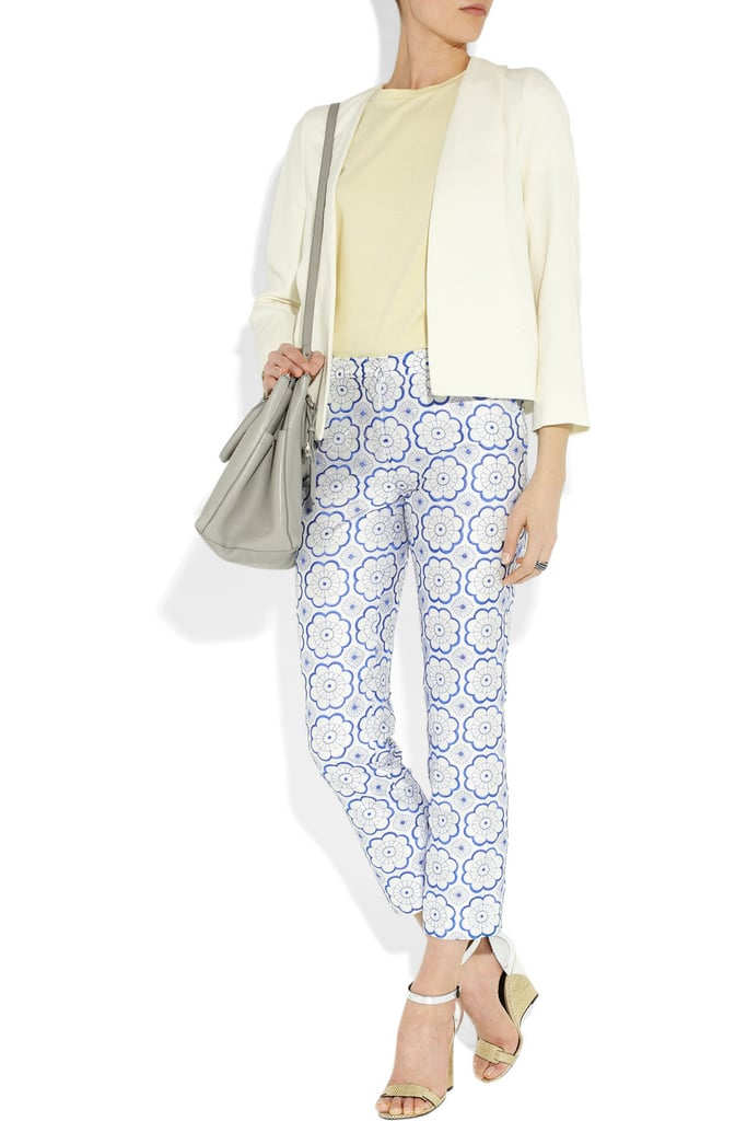 We're loving this muted printed pant — it's pretty, albeit a bit quirky, and also sticks to a svelte silhouette, which means you can rock this pattern without forgoing your shape. Diane von Furstenberg Georgia Two Silk Petal Pants ($385)