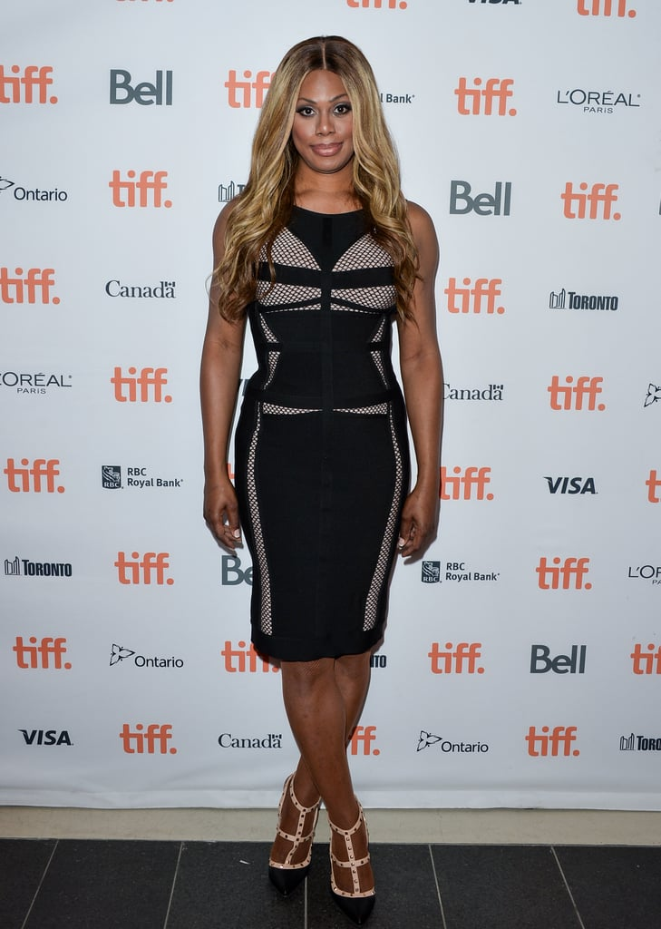 Mesh inserts and strappy heels added personality to Laverne's black sheath at the Toronto Film Fest in June 2014.