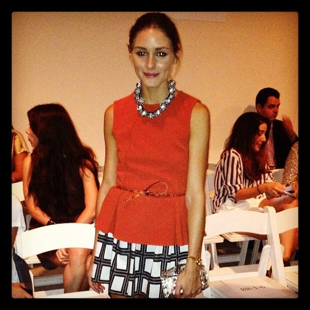 Olivia Palermo posed for a quick photo at Tibi.