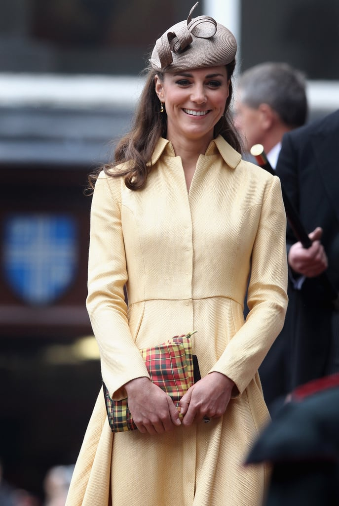 Kate Middleton smiled in a yellow Emilia Wickstead for the Thistle Ceremony in Edinburgh.