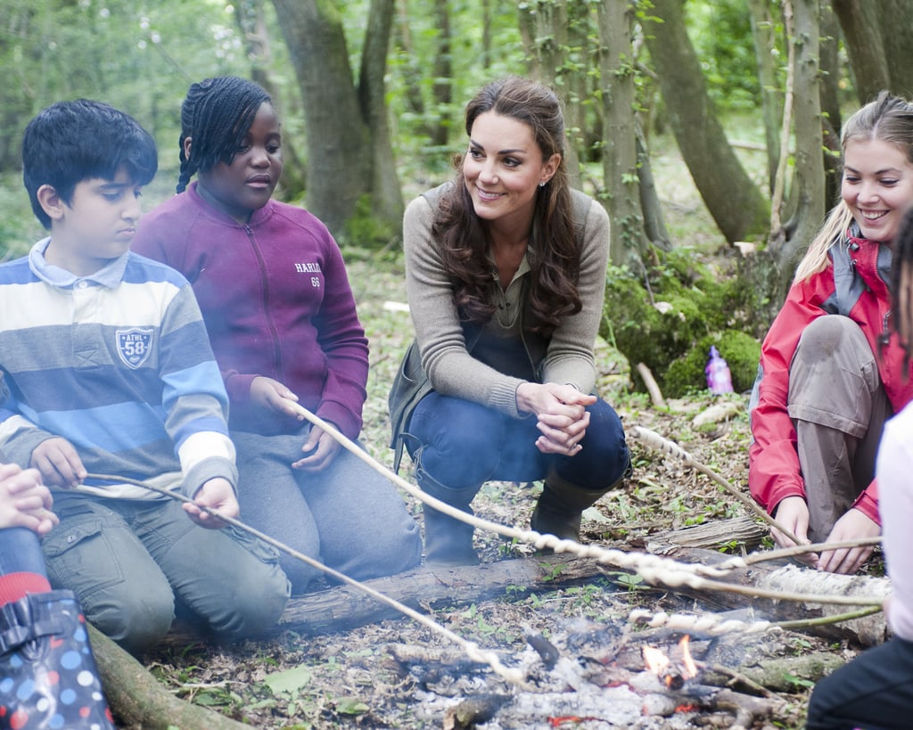 She got close to a group of campers when she made a visit to a school in Kent, England, back in June 2012.