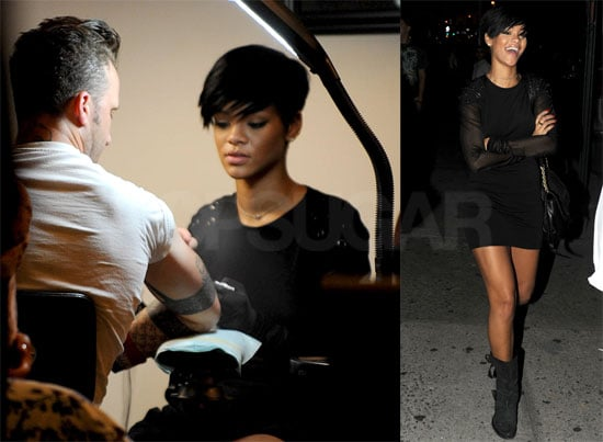Photos of Rihanna Getting Tattoo Lesson in NYC
