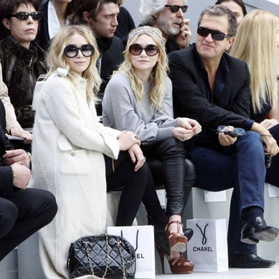 Mary-Kate and Ashley Olsen at the Chanel Show with Mario Testino