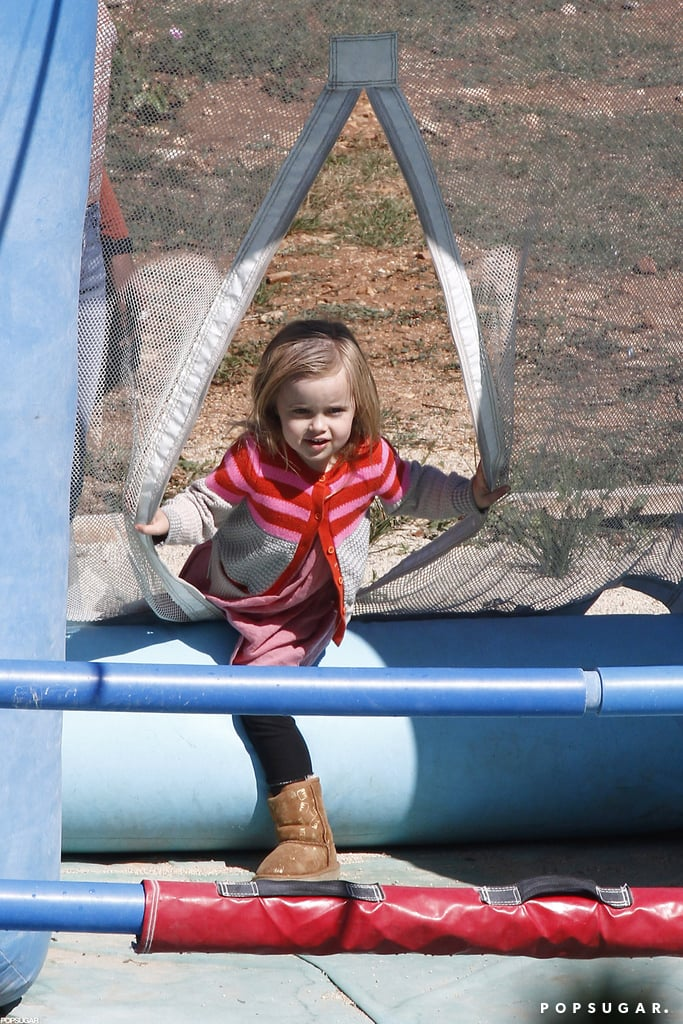 Vivienne played in a bounce house.