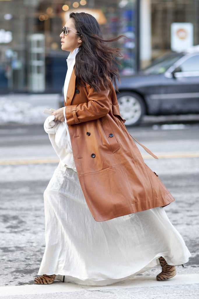 Buttery leather layered up perfectly against a floaty white maxi.